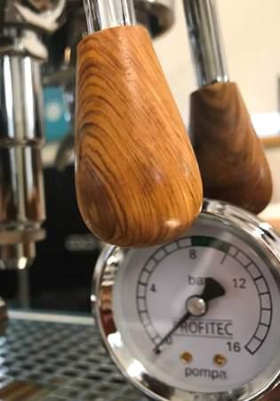 Handmade custom hardwood coffee brewing levers